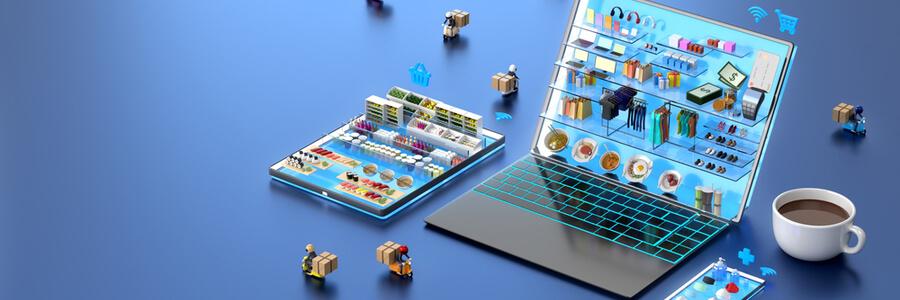 Dizüstü bilgisayar uygulama mağazasında alışveriş merkezinde çevrimiçi alışveriş yapan 3D illustrator